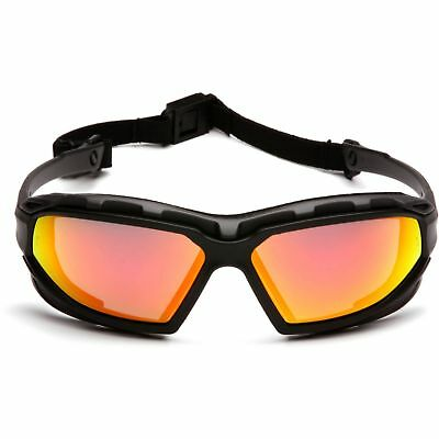 Pyramex Safety Goggle Glasses with Red Mirror Anti-fog Lens, Black Frame