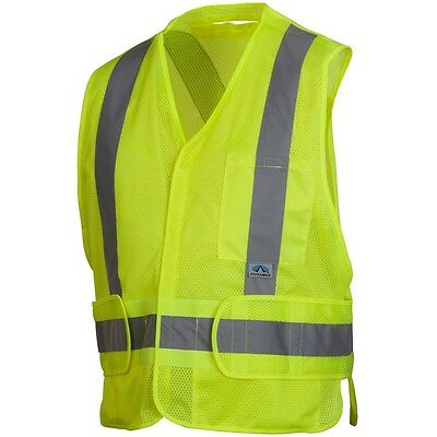 Pyramex Lime Safety Vest with Reflective Tape, Extinguishing, 2XL