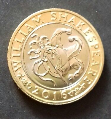 £2 Pound Coin William Shakespeare Comedies Jester 2016 Uncirculated.