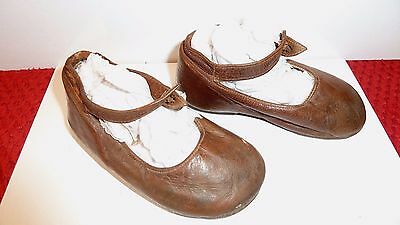 Antique Leather Shoes Child Baby Or Doll, Tan Leather 1900's