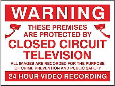 Warning These Premises Are Protected By CCTV Sign 200mm x 150mm - Rigid Plastic