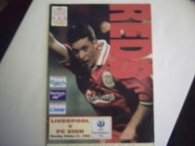 Liverpool v FC Sion Cup Winners Cup Oct 1996 Programme.