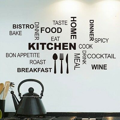 Kitchen Letter Removable Vinyl Wall Stickers Mural Decal Quotes Art Home Decor #