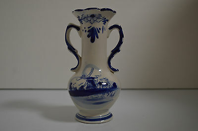Delft Deco Cobalt Blue Pottery Hand Painted Holland Bud Vase