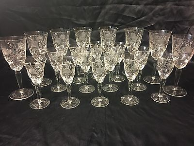 Vintage Etched Rose Crystal Glasses Set of 8 Wine & 12 Cordial Mint Condition