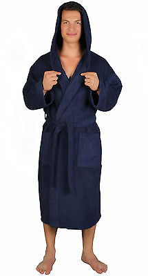 Hooded Bathrobe Mens Lightweight Marine Blue 100% Turkish Cotton Terry Robe