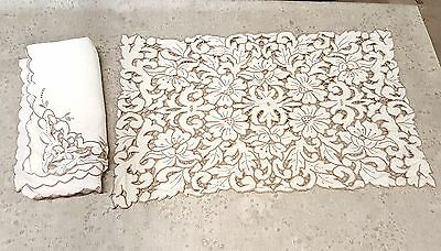 Antique MADEIRA Cutwork Hand Embroidery Placemats and Napkins set of 24 stunning