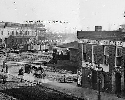 "Atlanta, Georgia, soldiers on box cars depot 8""x 10"" Civil War Photo Picture #49"