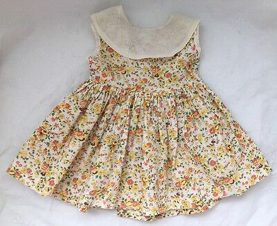Vintage Doll Clothes Lot #12: YELLOW ORANGE FLORAL Medium BABY DOLL DRESS