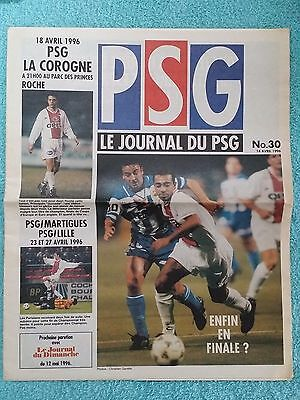 1996 CUP WINNERS CUP SEMI FINAL 2ND LEG PROGRAMME - PARIS ST GERMAIN v DEPORTIVO