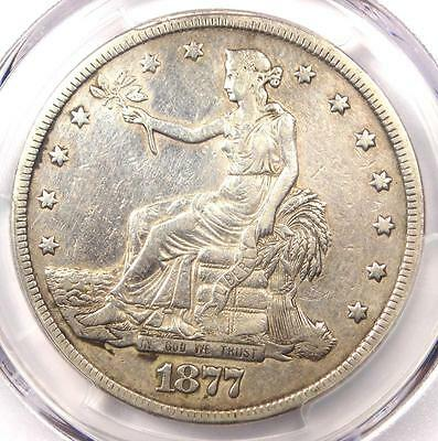 1877 Trade Silver Dollar T$1 - PCGS XF Details (EF) - Rare Certified Coin!