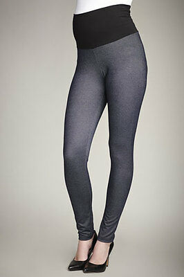 NWT Maternal America Maternity Belly Support Stretch Leggings DENIM look *LARGE*