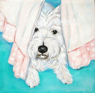 West Highland Terrier WESTIE MATTED SQUARE PRINT Painting UNDER THE BED  RANDALL