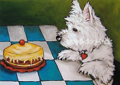 """West Highland Terrier ACEO WESTIE PRINT Painting """"TEMPTATION"""" Dog Art RANDALL"""