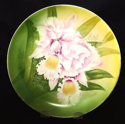 "Vintage Hr Bavaria Porcelain Hand Painted 8"" Plate Green W/ Pink Orchid"