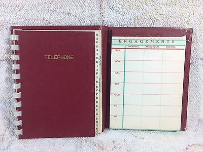 1950s Telephone And Engagements Book Red Prop Mid Century Japan