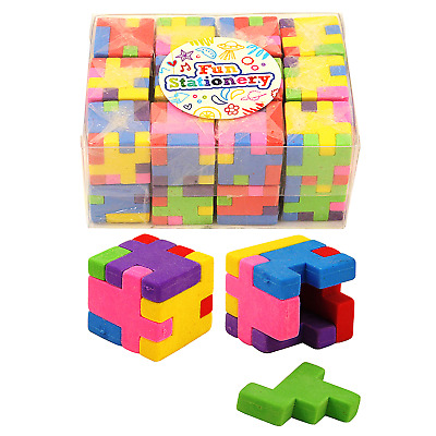 Bulk Job Lot Wholesale 24 Puzzle Cube Eraser Xmas Fair PTA Kids Party Fillers