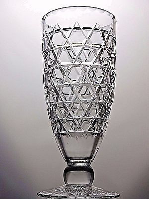 Royal Brierley Lead Crystal Cut Glass Large Heavy Vase- Marked - 25 Cm Tall