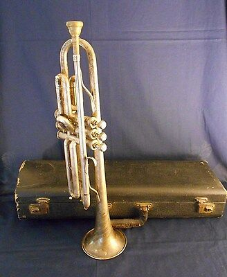VINTAGE CARL FISCHER, N.Y., ZEPHYR CORNET with HARDSHELL CASE, AND MOUTHPIECE