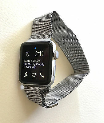 Milanese Loop Band for Apple Watch Stainless Steel Silver Mesh 42mm