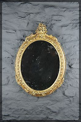Beautiful Antique Gilt & Gesso Oval Wall Mirror - Nicely Foxed - Very Decorative