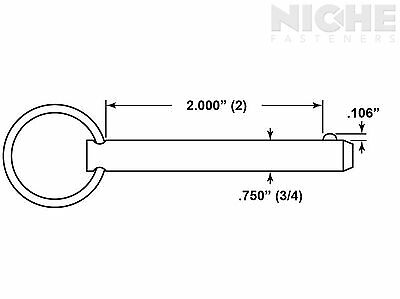 Detent Pin 3/4 x 2 300 Series Stainless Steel (2 Pieces)