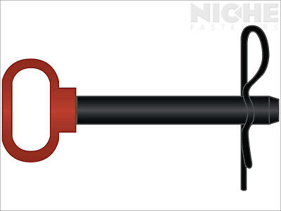 Hitch Pin Red Handle 3/4 x 6-1/2 Black Powder Coat w/Clip (2 Pieces)