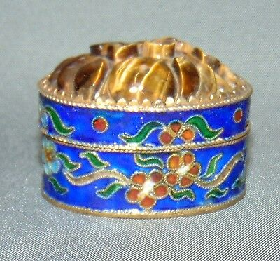 Cloisonne Pill Box w/ Carved Flowers on Top Blue Red Brass