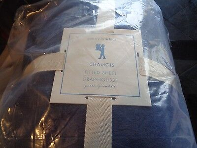 Pottery Barn Kids Chamois queen sheet fitted navy blue new with tags