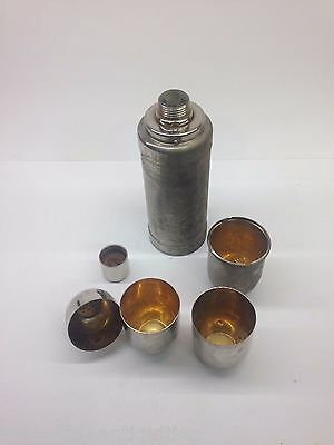 German Antique Metal Thermos Shaker Flask w/ Strainer, Cups, Glass Insert Metal