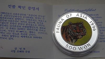1996 Korea 500 Won Panda/Tiger Hologram Silver Proof coin w/ case