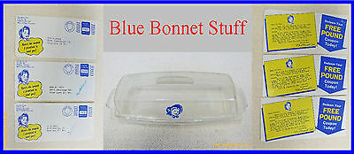 Vintage Blue Bonnet Margarine Keeper And Three Very Old Promotions