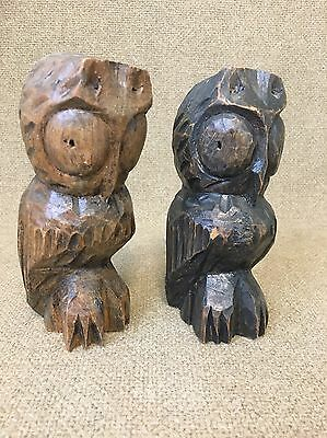 "2 Vtg Owl Sculpture Statue Mid Century Decor Cabin Tiki Art - 6"" Tall"