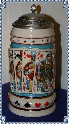 Colorful 3D Poker Themed German Beer Stein With Pewter Lid