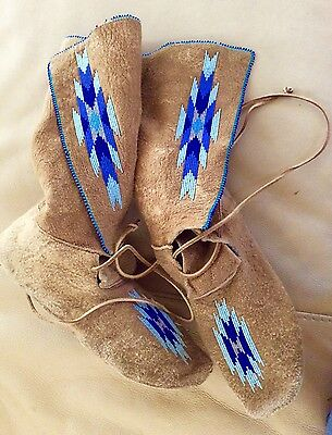 Northern Plains, Leggings Style Beaded Moccasins 1950's