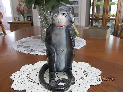Large Vintage  Cast Iron Ring Tail Monkey Coin Bank Or Door Stop