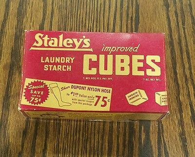 Vintage Box Staley's Laundry Starch Cubes Laundry WITH RARE ADVERTISING!