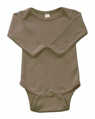 Infant-Baby-Cotton-LS-Onsies-Bodysuit-Blanks-Chocolate-Brown-6-12 months