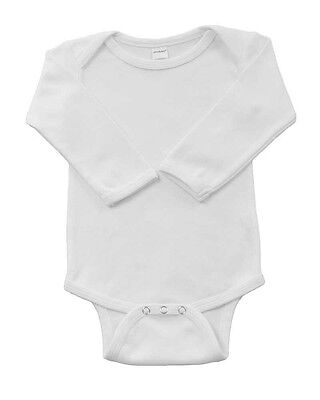 Infant-Baby-Cotton-LS-Onsie-Bodysuit-Blanks-White-6-12 months