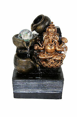 Ganesh Lotus Buddhism Indoor Tabletop Water Fountain LED Rolling Crystal Ball