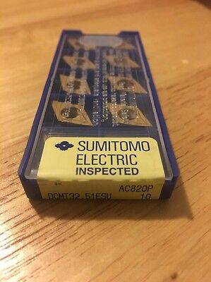 NEW Sumitomo DCMT32.51 ESU AC820P Carbide Inserts 1 Pack Of 10