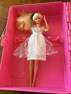 Barbie Fashion Wardrobe Carrying Case Trunk Suitcase Pink, 12x9x6.5 w/ one doll
