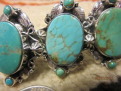 """1 3/8 """" Kingman Turquoise Sterling silver Adjustable Ring - by Dan Dodson"""