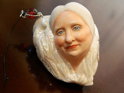 Wow OOAK? Elizabeth Brandon Old Woman Angel NIADA Art Christmas Ornament DOLL