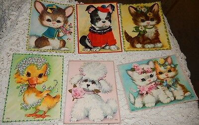 vintage LARGE greeting cards Cosby poodle bulldog kitten bunny duck original box