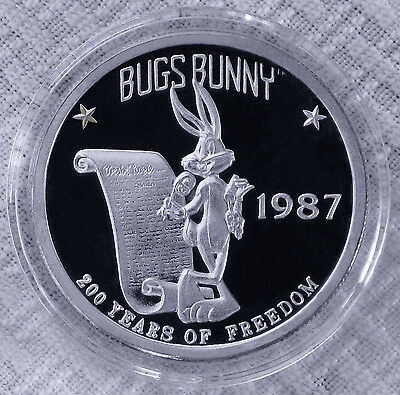 1987 1oz Pure Silver Bugs Bunny Constitution Coin/Round–Rare Looney Tunes!