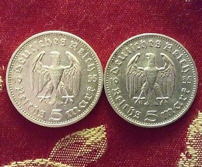 Nazi Germany 2x 1935 5 Mark Coins 90% Silver