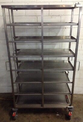 Commercial Stainless Mobile 7 Long Bay Caterers Bakers Rack Trolley + S/S Trays