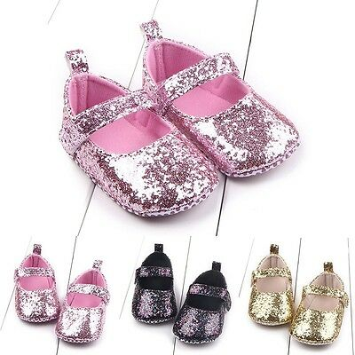 0-12M Baby Girls Sequins Crib Pram Shoes Kids Soft Sole Anti Slip First Walkers