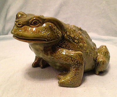 "Vintage Large Ceramic Toad Frog Hand Painted 7.5"" Long"